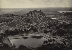 View showing Chandragiri (small hill), and tank, Sravana Belgola.
